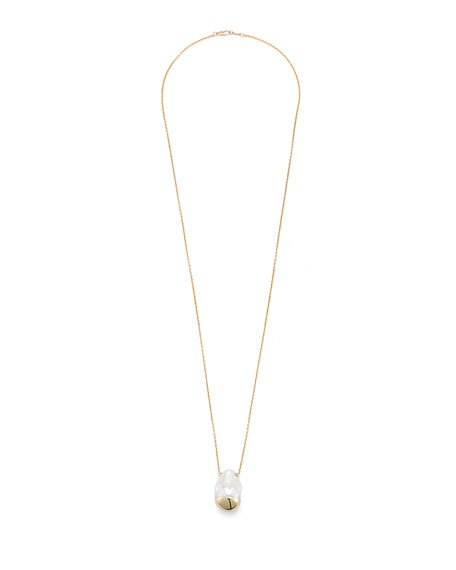 Sliding Baroque Pearl Pendant Necklace