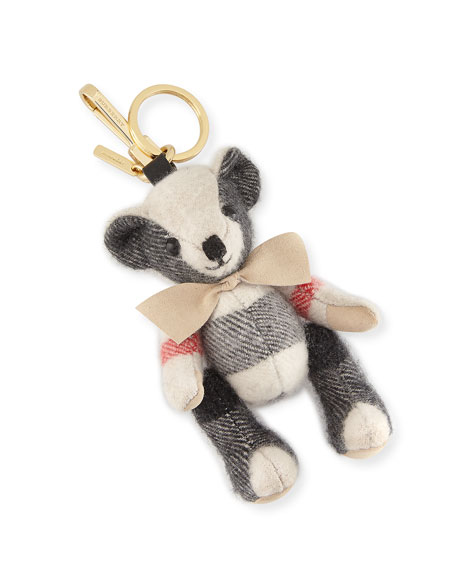 Burberry Thomas Bear Check Cashmere Bag Charm, Stone