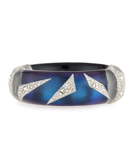 Crystal-Encrusted Origami Cuff Bracelet, Blue