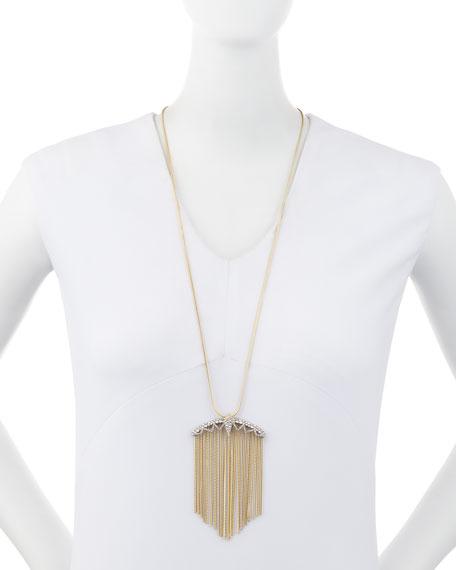"""Crystal Lace Fringe Pendant Necklace, 32"""""""