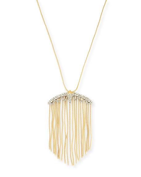 Alexis Bittar Crystal Lace Fringe Pendant Necklace, 32