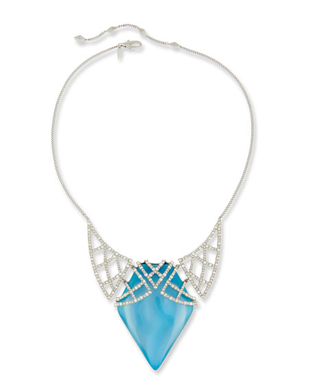 Crystal Encrusted Lattice Bib Necklace