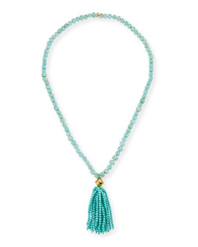 Amazonite Beaded Tassel Pendant Necklace, Blue