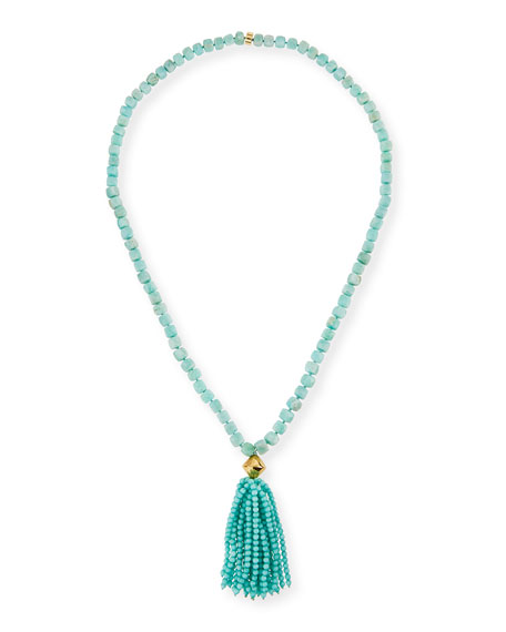 NEST Jewelry Amazonite Beaded Tassel Pendant Necklace, Blue