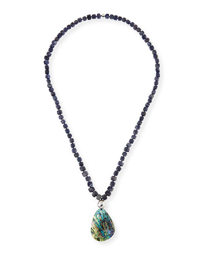 Sodalite Beaded Necklace w/Abalone Pendant, Blue