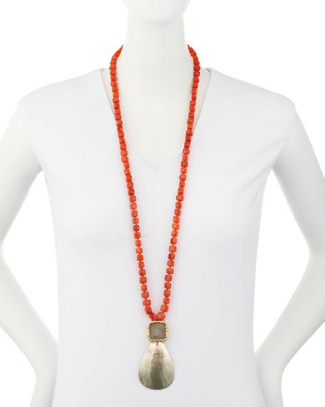 Carnelian Beaded Necklace w/Shell Pendant, Orange