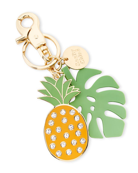 Crystal Pineapple & Palm Key Ring, Multi