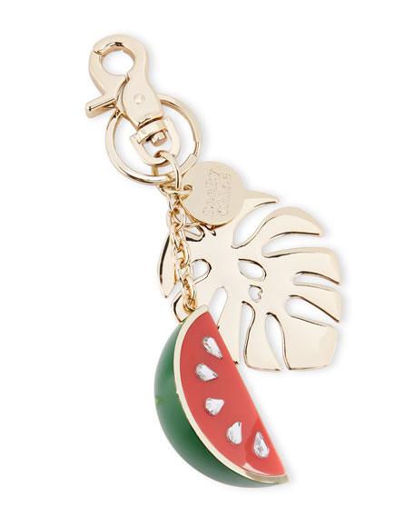 Crystal Watermelon & Palm Key Ring, Multi