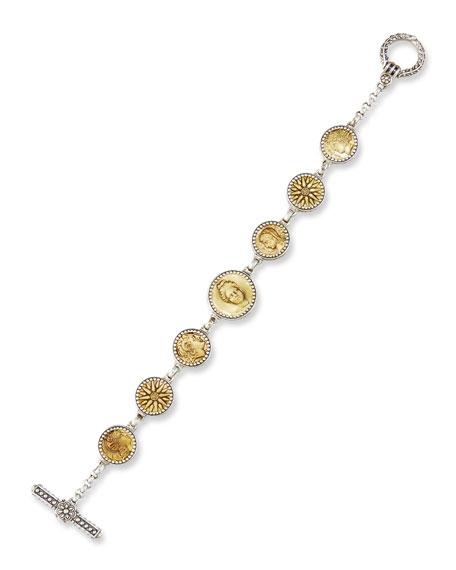 Konstantino Coin Charm Link Bracelet