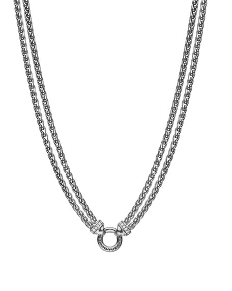 DOUBLE WHEAT CHAIN NECKLACE WITH DIAMONDS, 18