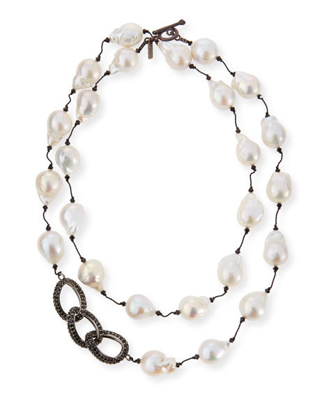 Baroque Pearl & Black Spinel Link Necklace, 35""