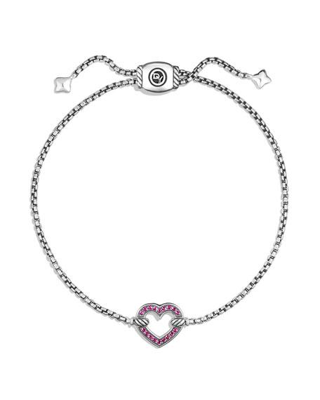 Valentine Hearts Pink Sapphire Station Bracelet