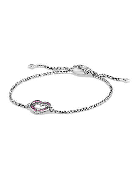 David Yurman Valentine Hearts Pink Sapphire Station Bracelet