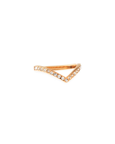 Ultra Mini V Crystal Ring, Rose Golden