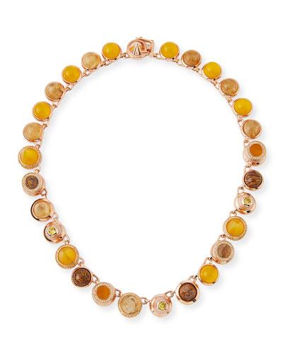 Collage Hematite & Rose Quartz Cabochon Necklace