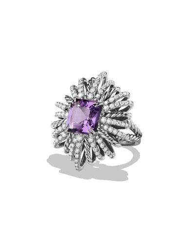 30mm Diamond & Amethyst Starburst Ring