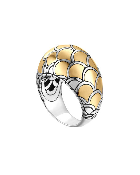 Naga Gold & Silver Dome Ring, Size 6