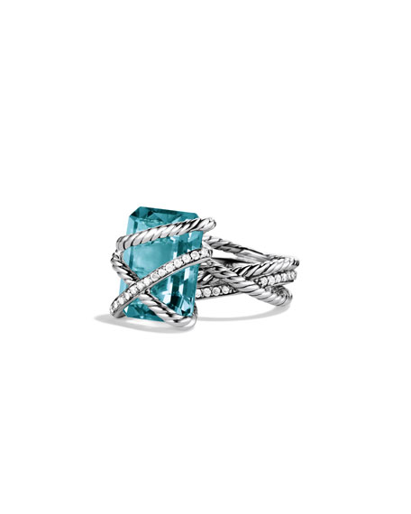 David Yurman Cable Wrap Ring with Blue Topaz