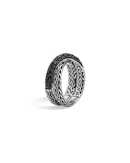 Classic Chain Silver Lava Intersect Ring, Size 7