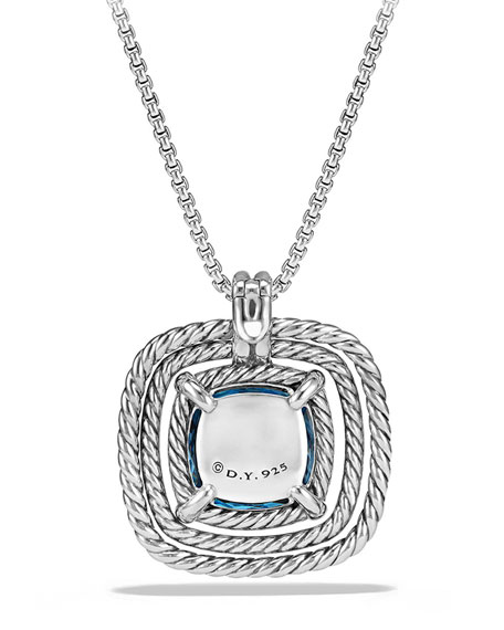 24mm Châtelaine Rope Bezel Hampton Blue Topaz Pendant Necklace with Diamonds