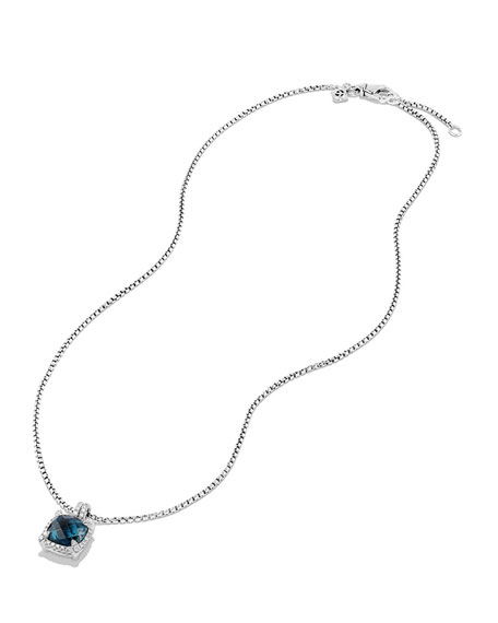 9mm Châtelaine Hampton Blue Topaz Pendant Necklace with Diamonds