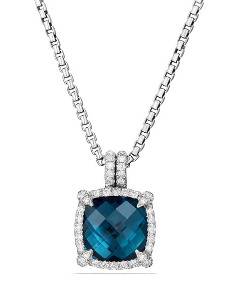 David Yurman 9mm Ch??telaine Hampton Blue Topaz Pendant