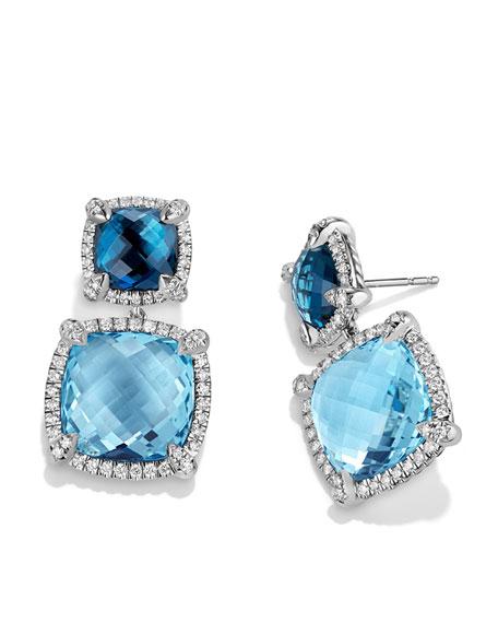 Châtelaine Blue Topaz Double-Drop Earrings with Diamonds