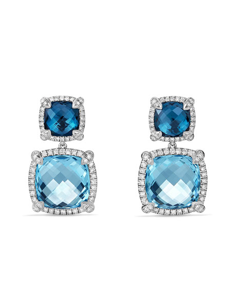 Châtelaine Blue Topaz Double-Drop Earrings with Diamonds