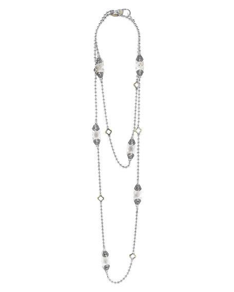 Caviar Color White Topaz Station Necklace