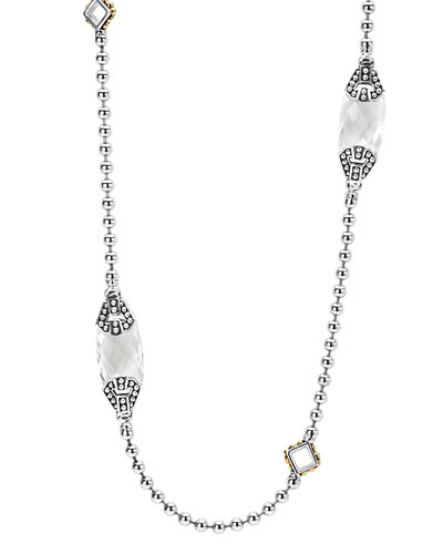 Caviar Color White Topaz Station Necklace