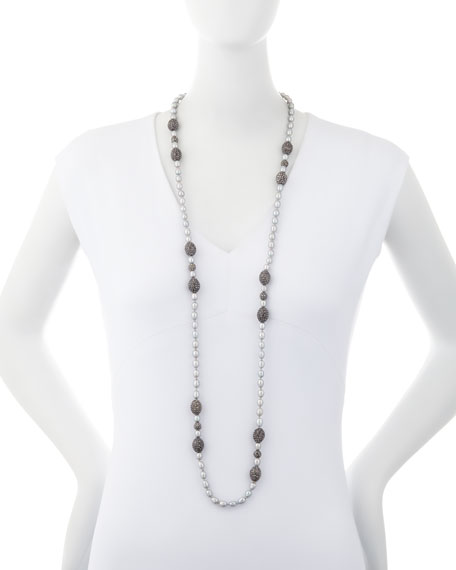 Remi Seed Pearl Necklace, Gray
