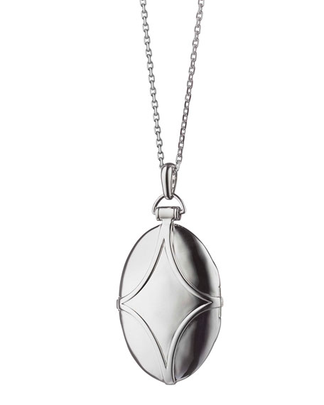 Silver & White Sapphire Petite Bridal Locket Necklace, 32""