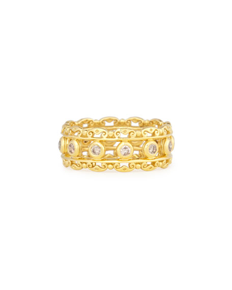 Flamenco 18K Diamond Scroll Ring, Size 7