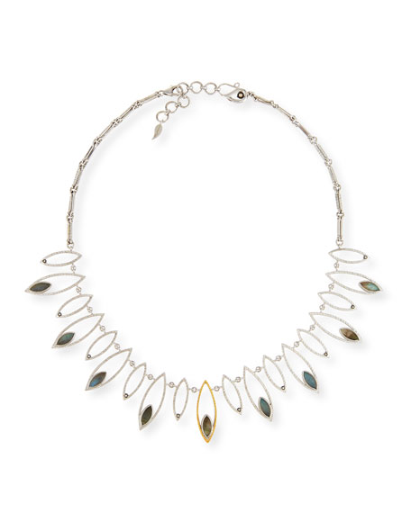 Marquis Labradorite & Diamond Station Necklace
