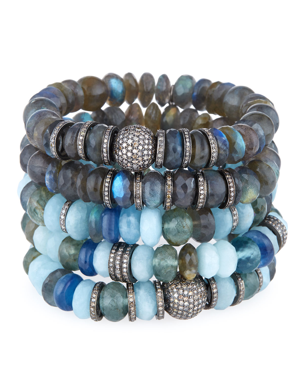Sheryl Lowe Labradorite Mixed-Bead Bracelet w/ Diamonds xwKscx7H8