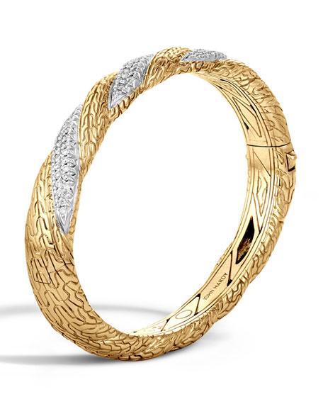 John Hardy Medium Classic Chain Diamond-Wrap Bangle