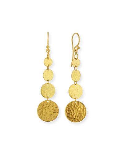 Lush 24k Gold Graduated Dangle Earrings