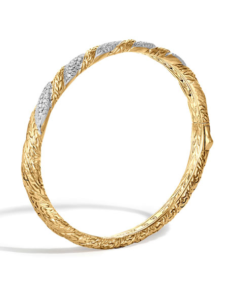 John Hardy Classic Chain Hinged Diamond Bangle