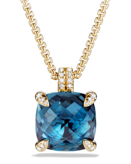 "18k Châtelaine® Pendant Necklace in Hampton Blue Topaz, 18"""
