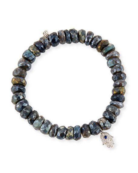 Sydney Evan 8mm Labradorite Beaded Bracelet with Diamond & Sapphire Hamsa Charm WoBY3