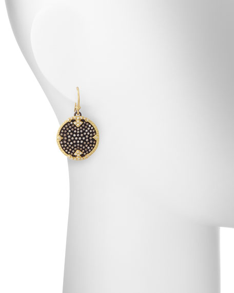 Old World Midnight Pave Diamond Disc Earrings