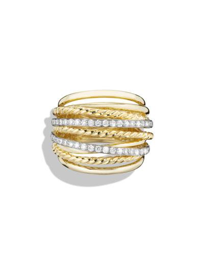 18k Crossover Ring w/ Diamonds, Size 7