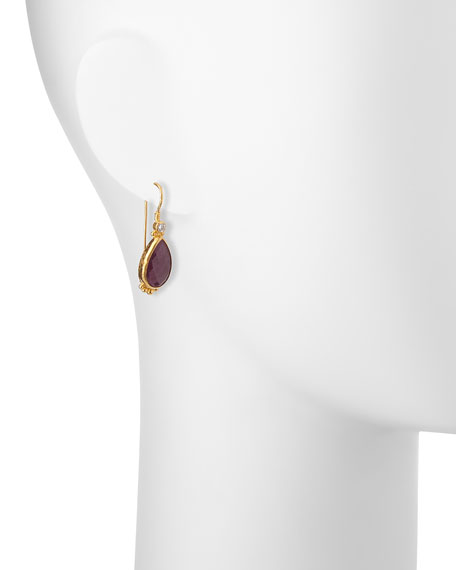 Elements 24k Gold Constantine Ruby Teardrop Earrings
