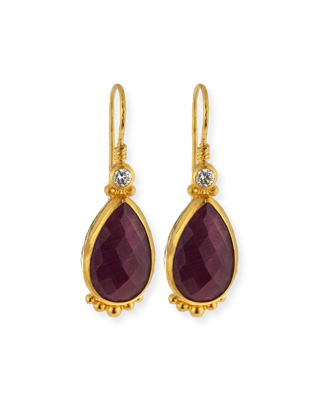 Gurhan Elements 24k Gold Constantine Ruby Teardrop Earrings