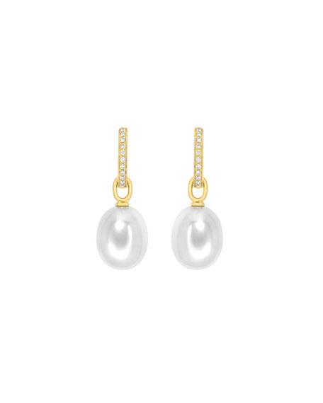 18K Yellow Gold Diamond & Pearl Drop Earrings