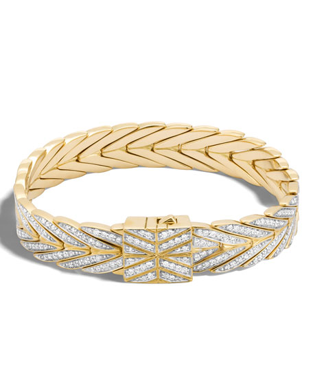 Modern Chain Bracelet in 18K Gold with Diamonds