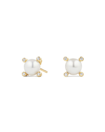 Cable Collectibles 18k Diamond & Pearl Stud Earrings
