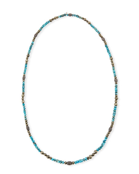 Hipchik Eleanor Long Turquoise & Pyrite Necklace
