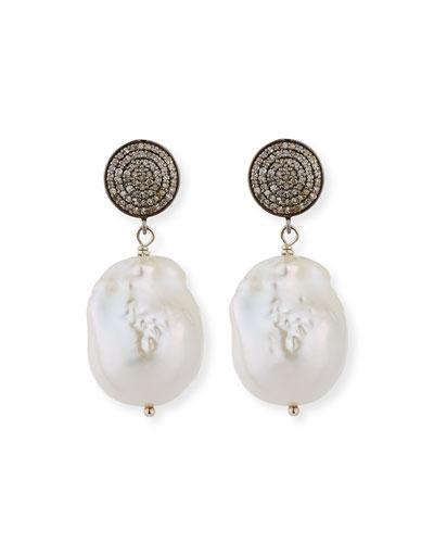 Baroque Pearl  Pave Diamond & Crystal Drop Earrings