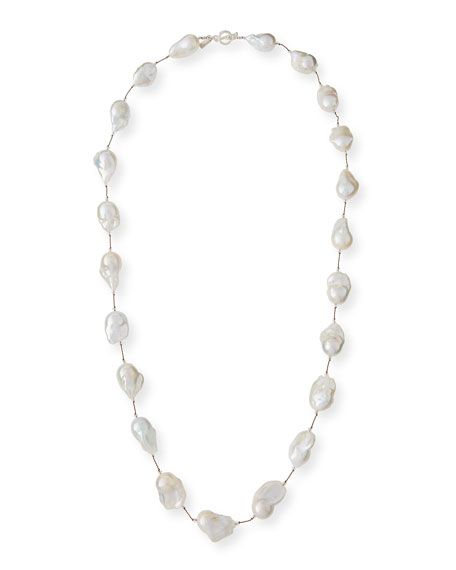 "Large Baroque Pearl & Crystal Necklace, 35""L"